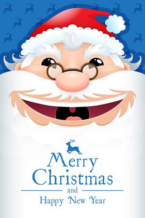 Happy Santa Claus poster. Christmas card. Vector illustration 2017