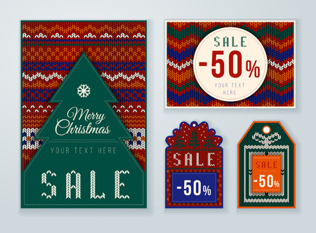 woven label: Christmas discounts tag. Winter Sale. Set of winter sale labels. Fabric and knit style. Illustration