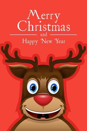 rennes heureux. Creative carte de Noël. Vector illustration 2017
