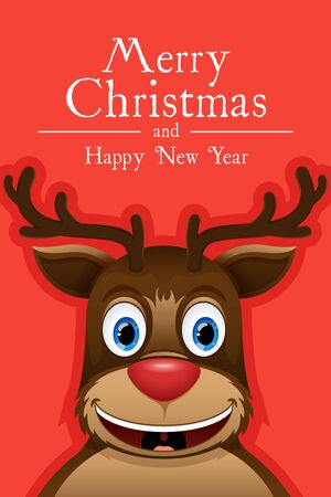 Happy reindeer. Creative Christmas card. Vector illustration 2017