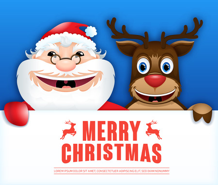 merry chrismas: Happy Santa Claus & reindeer hold sign board. Christmas card. Vector illustration 2017 Illustration