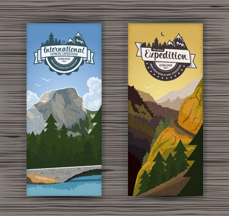 mountain holidays: Tourism hiking holidays forest landscape with mountain peaks and two vertical banners. Set abstract isolated vector illustration Illustration