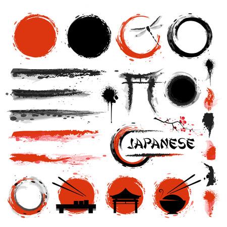 stile tradizionale giapponese. Set di pennelli e altri elementi di design Vettoriali