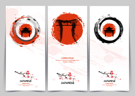 Vertical banners with rising sun. Traditional Japanese painting.