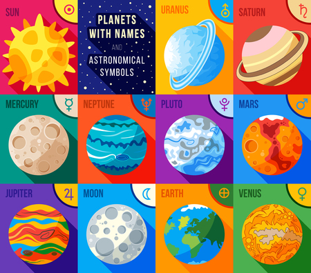 Flat icons set - planets with names and astronomical symbols. Vector astronomic abstract objects