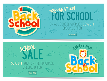 Back to school sale banners. Can use for marketing, promotion, flyer, blog, web, social media. Vector illustration