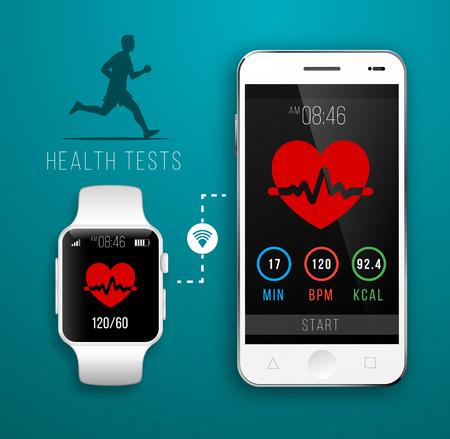 健康のためのフィットネス アプリケーションとスマートな腕時計。デバイスの同期。フラット スタイルのイラスト 写真素材 - 61189075