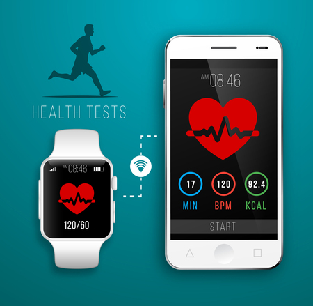 bangles hand: Smart Watch with Fitness application for health. Synchronization of devices. Illustration in flat style