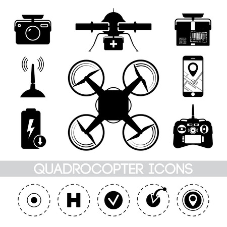 Illustration with different quadrocopters icons in minimal style. Drone with camera Illustration