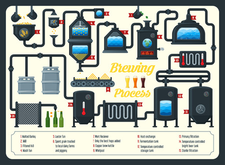 brewing: Beer brewing process infographic. Flat style.