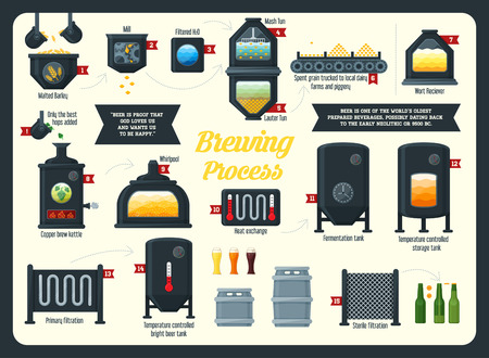 boil: Beer brewing process infographic. Flat style.