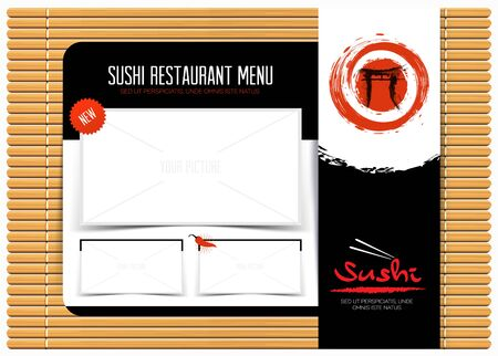Restaurant cafe menu on bamboo mat. template design. Japanese menu background. Vector illustration.