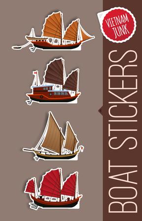 Junk boat stickers, Halong Bay, Vietnam junk. Stickers of junk boat. Illustration