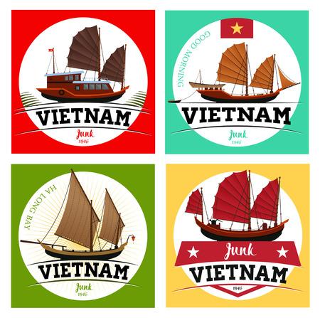 Junk boat, Halong Bay, Vietnam junk. Labels of junk boat.