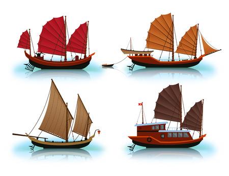 Junk boat, Halong Bay, Vietnam junk. Illustration