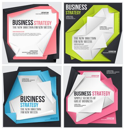 variegated: Set of Business vector template. Abstract origami template.