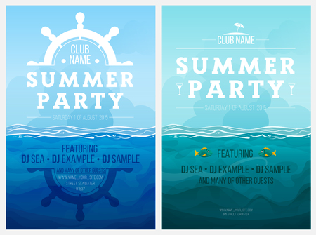 Summer party. Template poster. Vector illustration Vectores