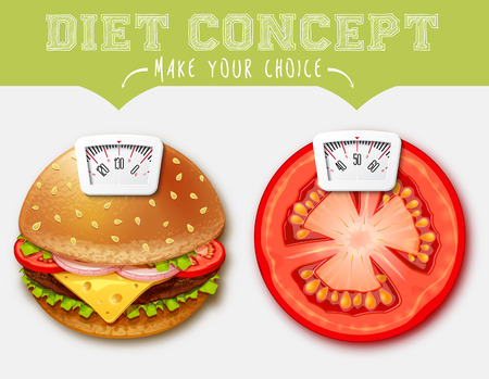 Diet concept. Food with Scale for a Weighing Machine Ilustração