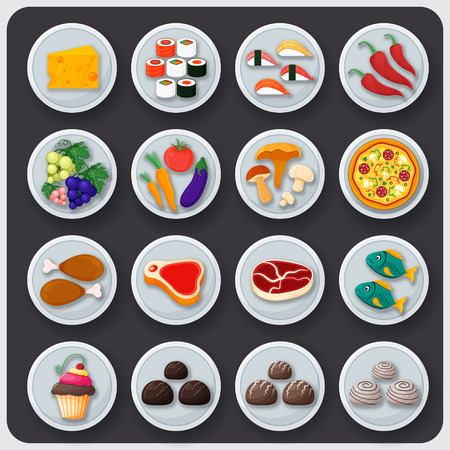 dishes set: Dishes icon set. Food on the plates