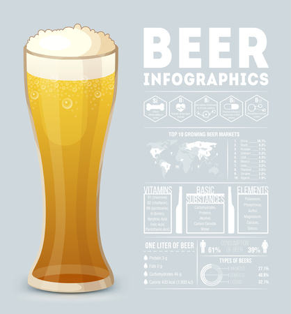 details: Beer infographic. Flat style.