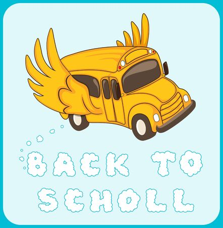 winged: Back to school. Winged bus. Vector