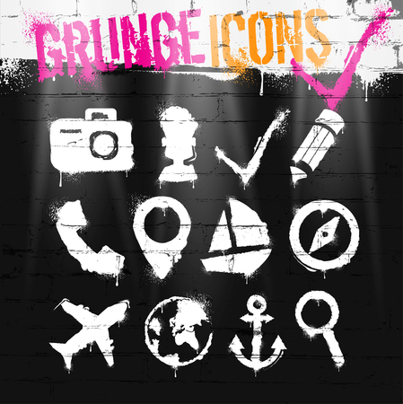 Spray paint icons on brick wall. Ink blots. Spray grunge background. Grunge icons set.