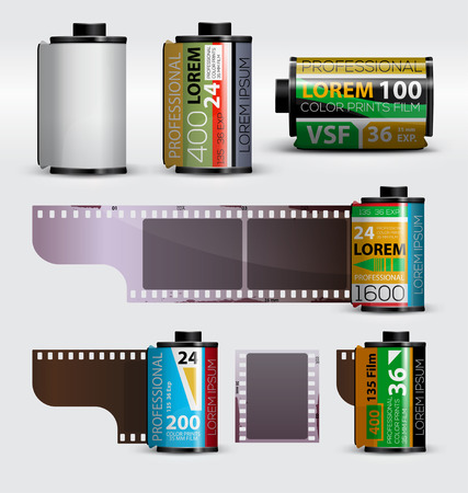 película de 35 mm. rollo de película fotográfica realista. ilustración vectorial Ilustración de vector