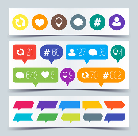 Like, follower, comment, repost, comment icons. Vector illustration. Ilustrace