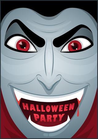mr: Dracula poster. Mr. Vampire. Halloween poster. Halloween cardposter. Vector illustration.