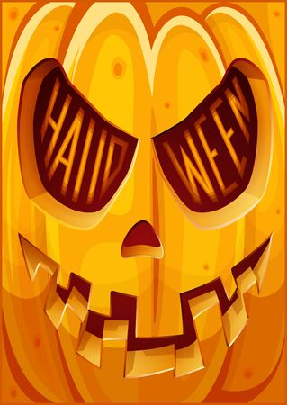 Poster with pumpkin,. Halloween poster. Halloween cardposter. Vector illustration. Illustration