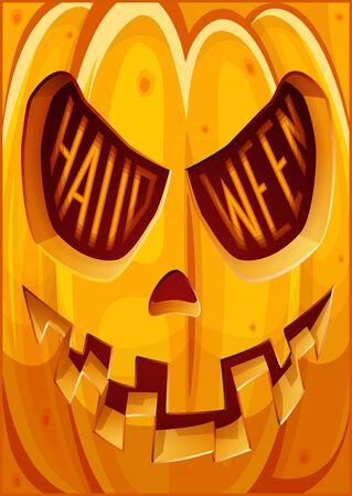 Poster with pumpkin,. Halloween poster. Halloween cardposter. Vector illustration. Çizim