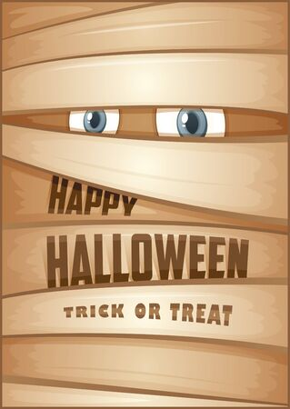 mummy: Poster with mummy. Halloween poster.  Halloween Party Poster. Vector illustration.