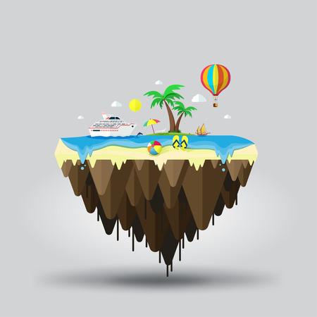 floating island: Floating island, beach tourism. Travel and tourism Illustration