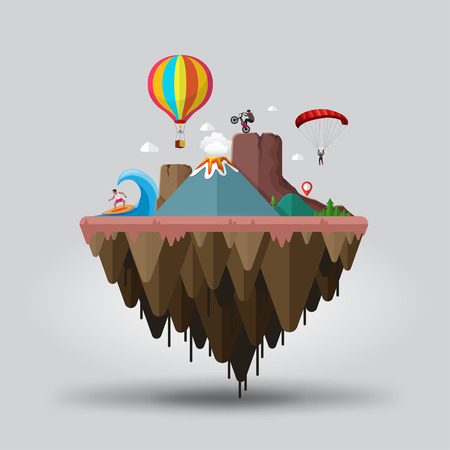 floating: Floating island, extreme tourism end sports. Travel and tourism Illustration