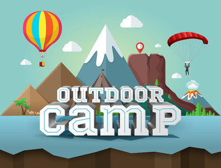 Outdoor camp, poster with 3d text. Travel and tourism