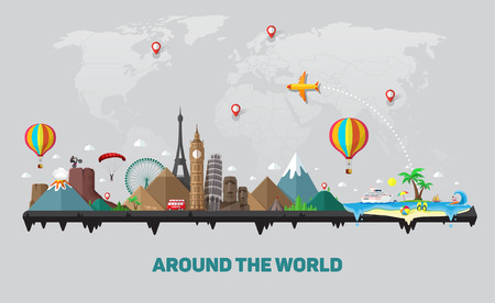 Travel and tourism background. Around the world