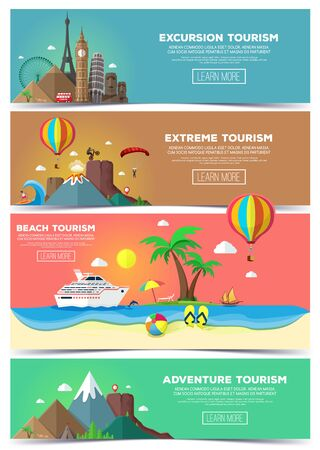 Colorful vector flat banners set. Travel and tourism banner set. 向量圖像