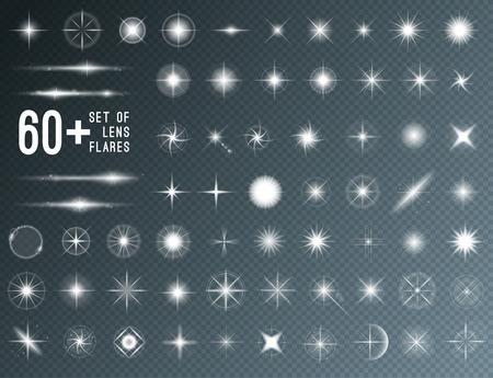 Large set of realistic lens flares star lights and glow white elements on transparent background. Vector illustration Reklamní fotografie - 61190339
