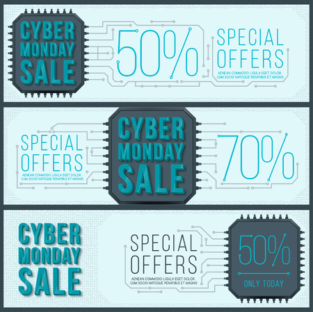 Cyber ??Monday banner design. Monday sale. Web elements with banners and discounts.