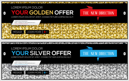 Golden and silver banner template with Gold glitter. Web banner