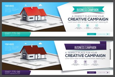 Bannière Web de la maison, modèle de mise en page d'en-tête. Couverture créative. Bannière Web.