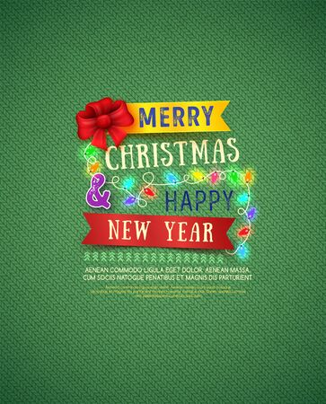 Christmas and New Year poster. Christmas Messages and objects on knitting background.