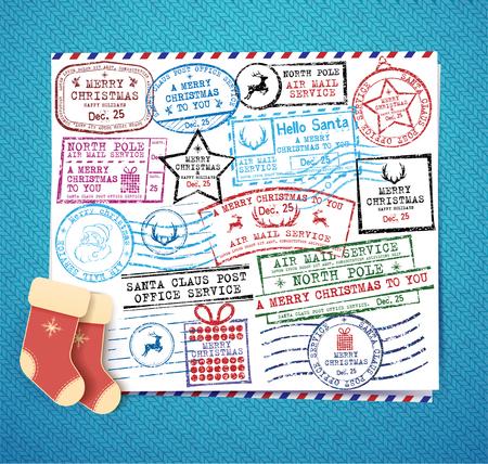 stamp passport: Christmas stamps set. Retro Christmas stamp. Passport Stamps Illustration
