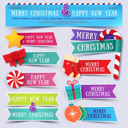 Abstracte kerst banners instellen. Vrolijk kerstfeest banners. Gelukkig nieuwjaar.