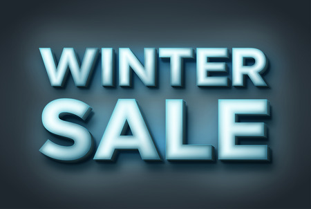 Winter sale inscription. 3d glowing text. Inscription of ice.