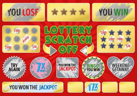 Lottery scratch off set. With effect scratch marks. Suitable for scratch card game and win. For a lottery ticket. Win game card. Vettoriali