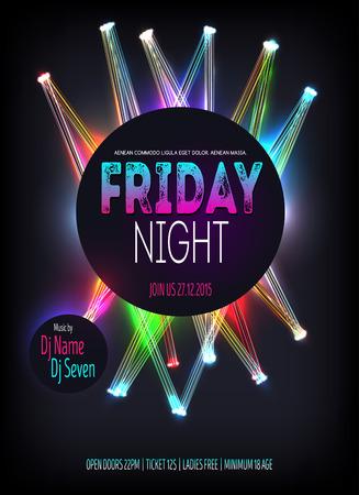 Night Disco Party Poster abgesprochen Linien leuchten. Hintergrund Vorlage - Illustration Standard-Bild - 61289082