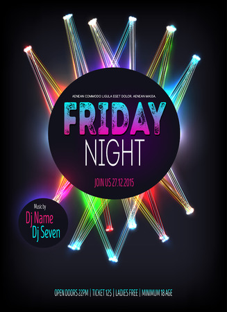 Night Disco Party Poster witht glowing lines. Background Template - Illustration