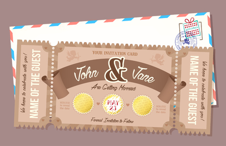 scratch card: Wedding invitation card with scratch off element. Retro style Ticket.