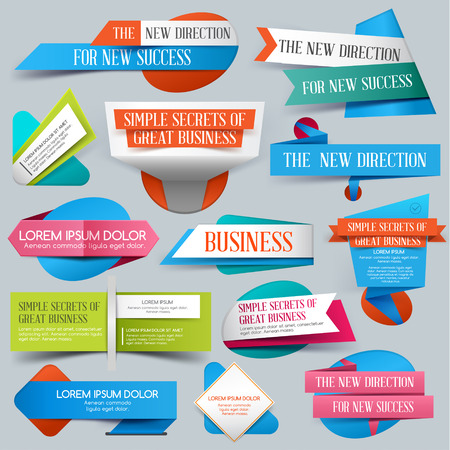 discount banner: Set of Website Banner. Vector illustration. Sale. Discount origami Banners. New offer